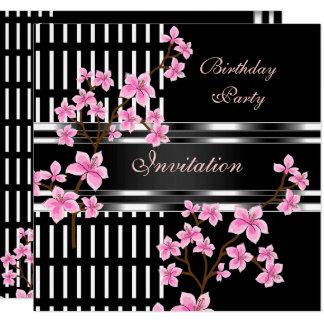 Geburtstags-Party-Schwarz-weiße asiatische rosa Karte