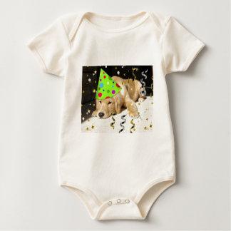 Geburtstags-Party-tierischer goldener Retriever Baby Strampler