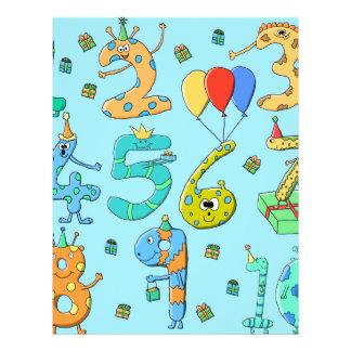 Geburtstags-Party-Zahlen, auf hellblauem. 21,6 X 27,9 Cm Flyer