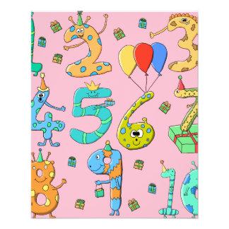 Geburtstags-Party-Zahlen, auf Rosa 11,4 X 14,2 Cm Flyer