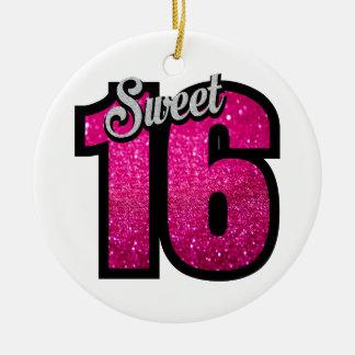 Geburtstags-Partymädchen des Glitters sechzehn des Keramik Ornament