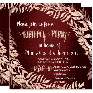 Geburtstags-Partywreath-Glitzer-Rosen-Gold Karte