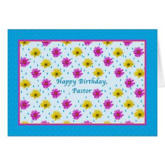 Geburtstags-, Pastor-, rosa und Gelbegänseblümchen Karte