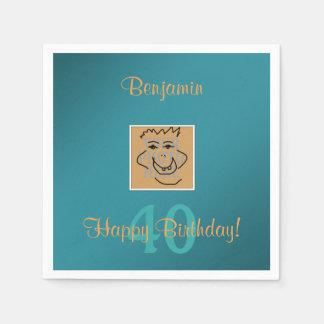 Geburtstags-persönliches Foto und Gewohnheits-Text Papierserviette