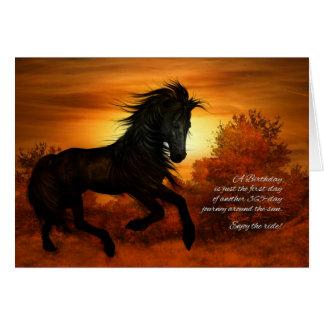 Geburtstags-Pferd im Sonnenuntergang - lustig Grußkarte