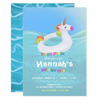 Geburtstags-Pool-Partyunicorn-Floss-Einladung Karte