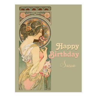 Geburtstags-Postkarte Alphonse Mucha Primel-CC0637 Postkarte