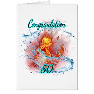 Geburtstags-Rose 50 Karte