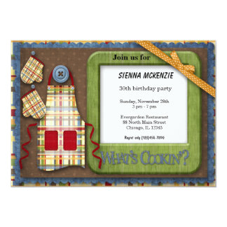 Geburtstags-Schürze 12,7 X 17,8 Cm Einladungskarte