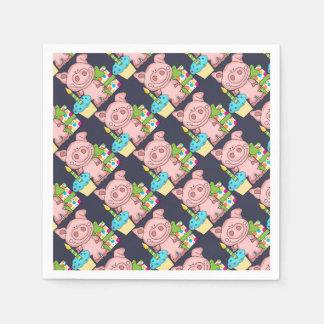 Geburtstags-Schwein, Geschenk u. kleiner Kuchen Serviette