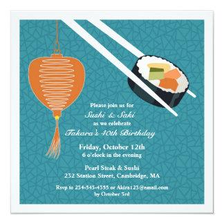 Geburtstags-Sushi-Party-flache Einladung
