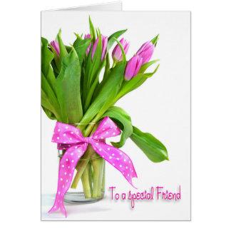 Geburtstags-Tulpen für Freund Grußkarte