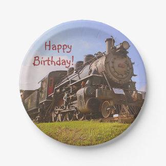 Geburtstags-Vintager Dampf-Zug Pappteller