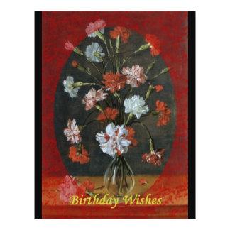 Geburtstags-Wünsche - Gartennelken mit ovalem Berg Flyer