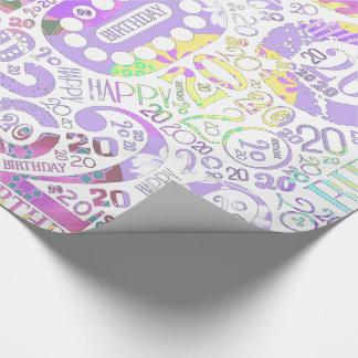 Geburtstags-Zahl-Wort-Wolke zwanzig F ID270 Geschenkpapier