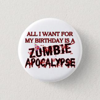Geburtstags-Zombie-Apokalypse Runder Button 3,2 Cm