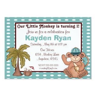 Geburtstagseinladung der blauen Jungen des Affen 12,7 X 17,8 Cm Einladungskarte