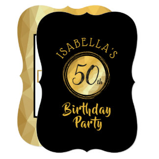 Geburtstagseinladung im Goldmetallischen Effekt Karte