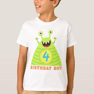 Geburtstagsjunge 4 Jahre lustige Monster scherzt T T-Shirt
