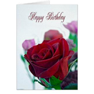 Geburtstagskarte mit einer Roten Rose Karte