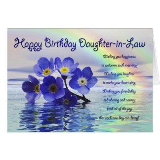 Geburtstagskarte, Schwiegertochter mit Karte