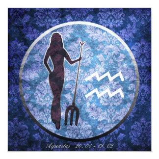 Geburtstagskarte: Sternzeichen Wassermann Quadratische 13,3 Cm Einladungskarte