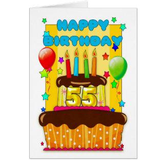 Geburtstagskuchen mit Kerzen - glücklicher 55. Karte