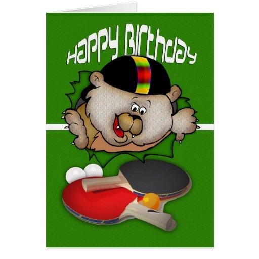 Geburtstagssport Klingeln Pong Tischtennis Grußkarte
