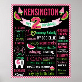 Geburtstagstafel-Zeichenplakat der Wassermelone 2. Poster