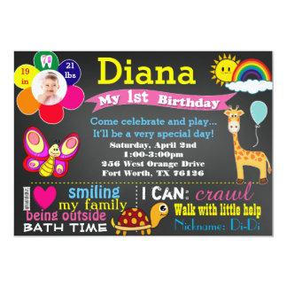Geburtstagstafeleinladung mit Foto 12,7 X 17,8 Cm Einladungskarte