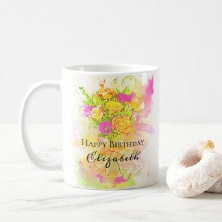 Geburtstagwatercolor-Blumen-Blumenstrauß Kaffeetasse
