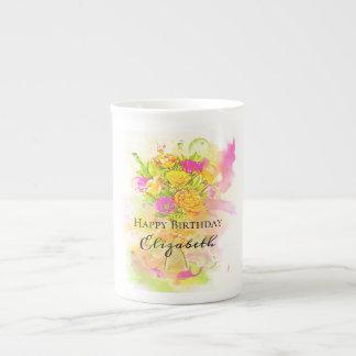 Geburtstagwatercolor-Blumen-Blumenstrauß Porzellantasse