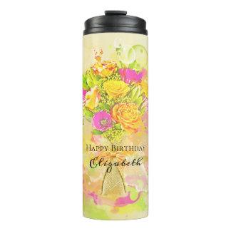 Geburtstagwatercolor-Blumen-Blumenstrauß Thermosbecher