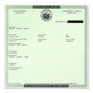 Geburtsurkunde Präsidenten- Quadratische 13,3 Cm Einladungskarte