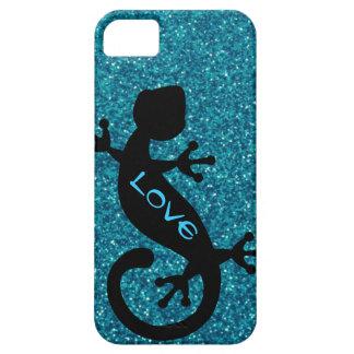 Gecko auf aquamarinem Glitzer iPhone 5/5S Fall iPhone 5 Etui