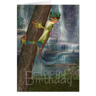 Gecko auf einer Baum-Geburtstags-Karte