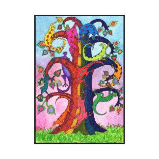 Gecko-Baum des Lebens Leinwanddruck