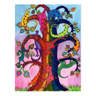Gecko-Baum des Lebens Postkarte