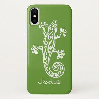 Geckoreptilweißer u. grüner Namensiphone Kasten iPhone X Hülle