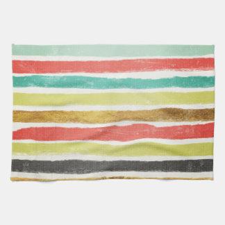 Gedämpfte mehrfarbige Bürsten-Anschlag-Streifen Handtuch