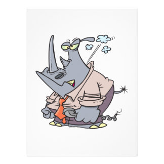 gedämpfter lustiger Cartoon wütenden Cartoon Rhino Individuelle Ankündigung