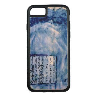 Gedämpftes Blau beunruhigtes Skript-Kunst-Aquarell Carved iPhone 8/7 Hülle