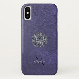 Gedämpftes lila ledernes keltisches iPhone x hülle