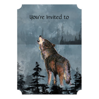 Gedenkveranstaltung laden Aquarell-Heulenwolf ein Einladung