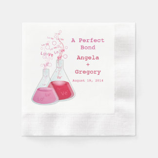 Geek-Herz-Chemie-Offbeat personalisierte Hochzeit Papierservietten