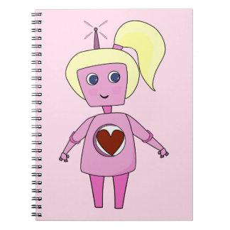 Geek-rosa und niedliches Roboter-Notizbuch Notizblock