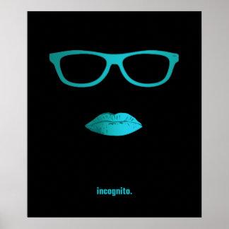 Geeky aquamarine blaue Lippen und Gläser Plakatdrucke