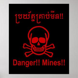 Gefahr!! Bergwerke!! ☠ kambodschanisches Poster