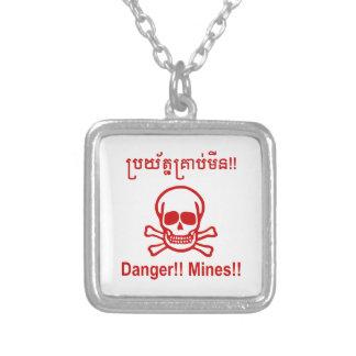 Gefahr!! Bergwerke!! ☠ kambodschanisches Versilberte Kette