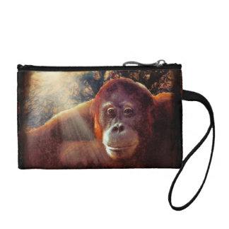 Gefährdete Orang-Utan u. Regenwald-Primat-Kunst 2 Kleingeldbörse